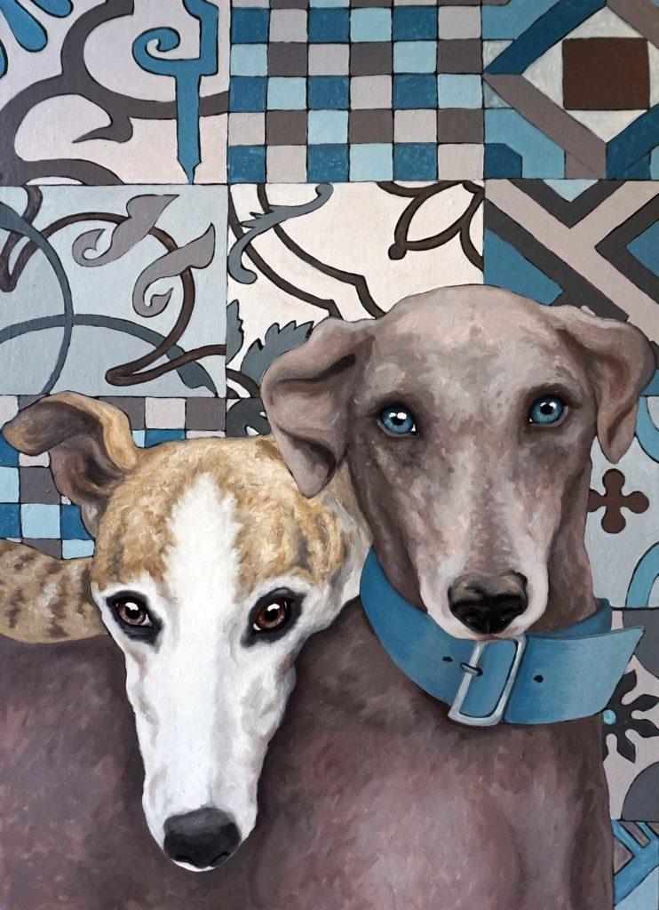 ritratti di cani, levrieri