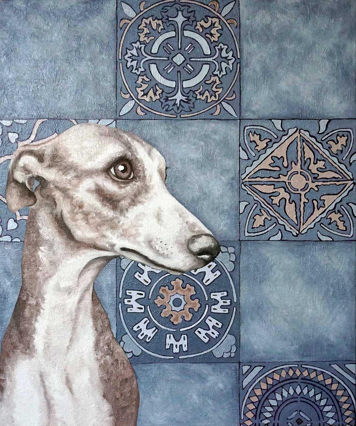 Ritratto di levriero, ritratto cane
